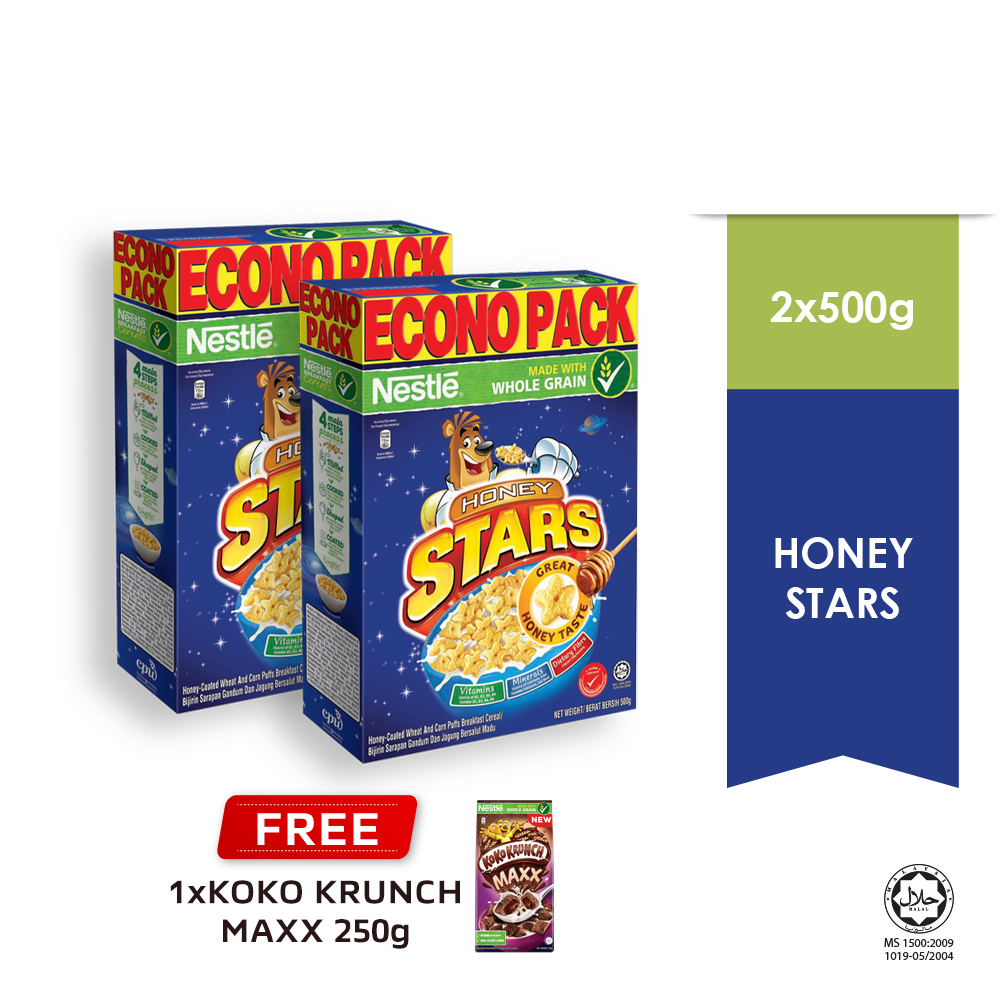 NESTLE HONEY STARS Cereal Econopack 500g Buy 2 Free 1 KOKO Krunch Pillow 250g