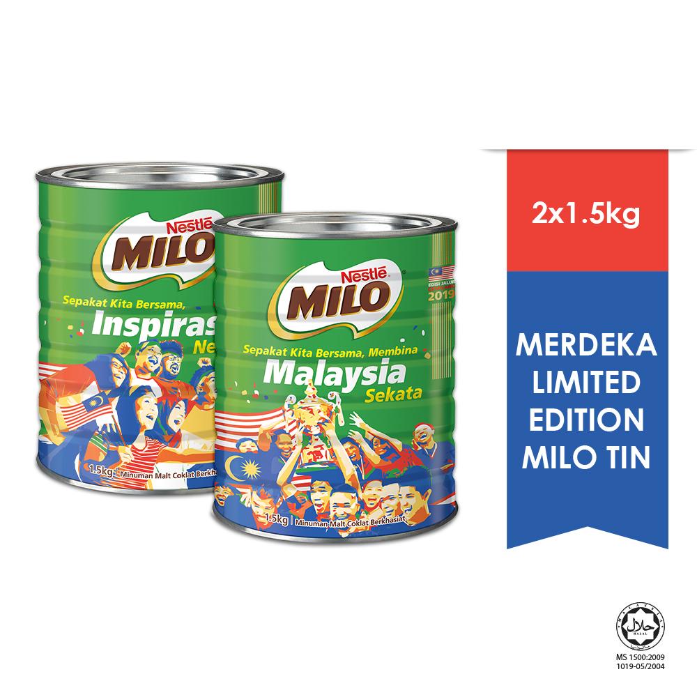 NESTLE MILO ACTIVE -GO CHOCOLATE MALT POWER TIN 1.5 kg Bundle of 2 - Merdeka Edition