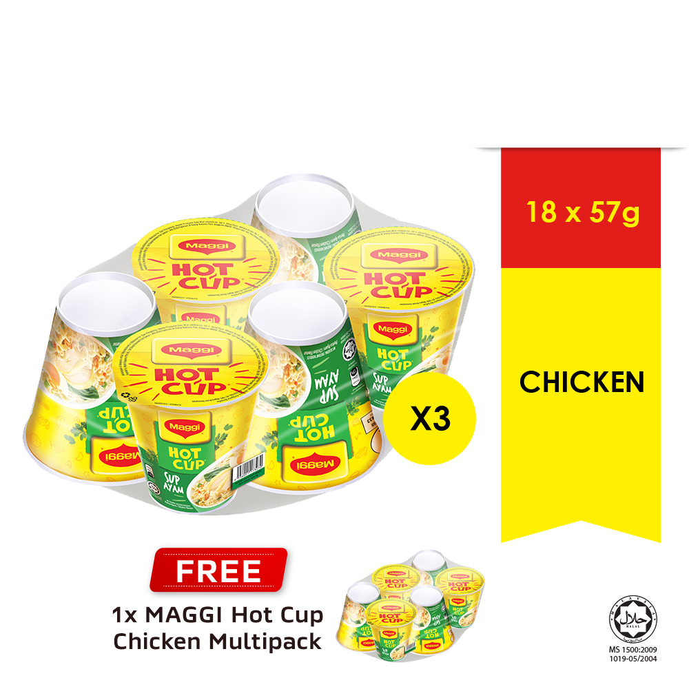 MAGGI Hot Cup Chicken 6 Cup , Buy 3 Free1 Hot Cup Chicken 6 Cup