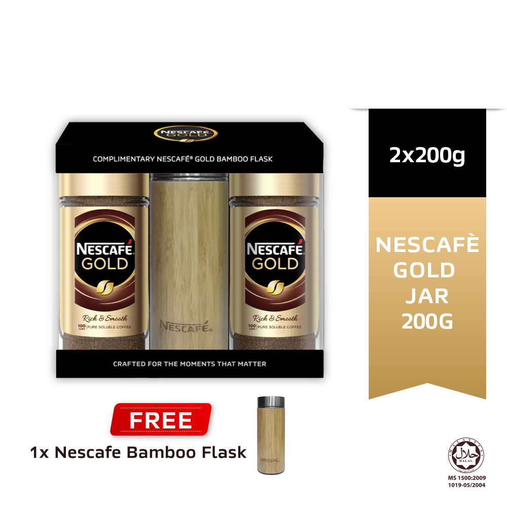 Nescafe Gold Jar 200g, Buy 2 Free Bamboo Flask