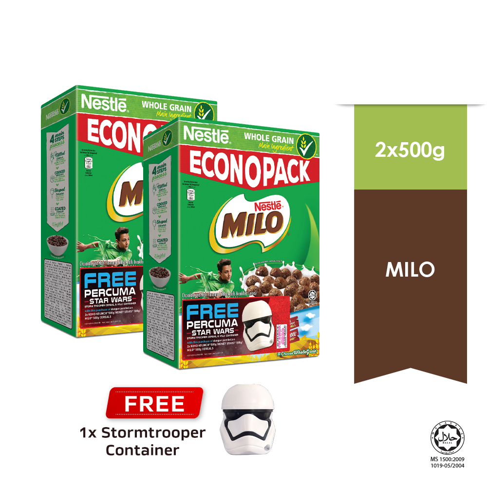NESTLE MILO Breakfast Cereal Econopack 500g, Buy2 Free 1 Star Wars Storm Trooper Container