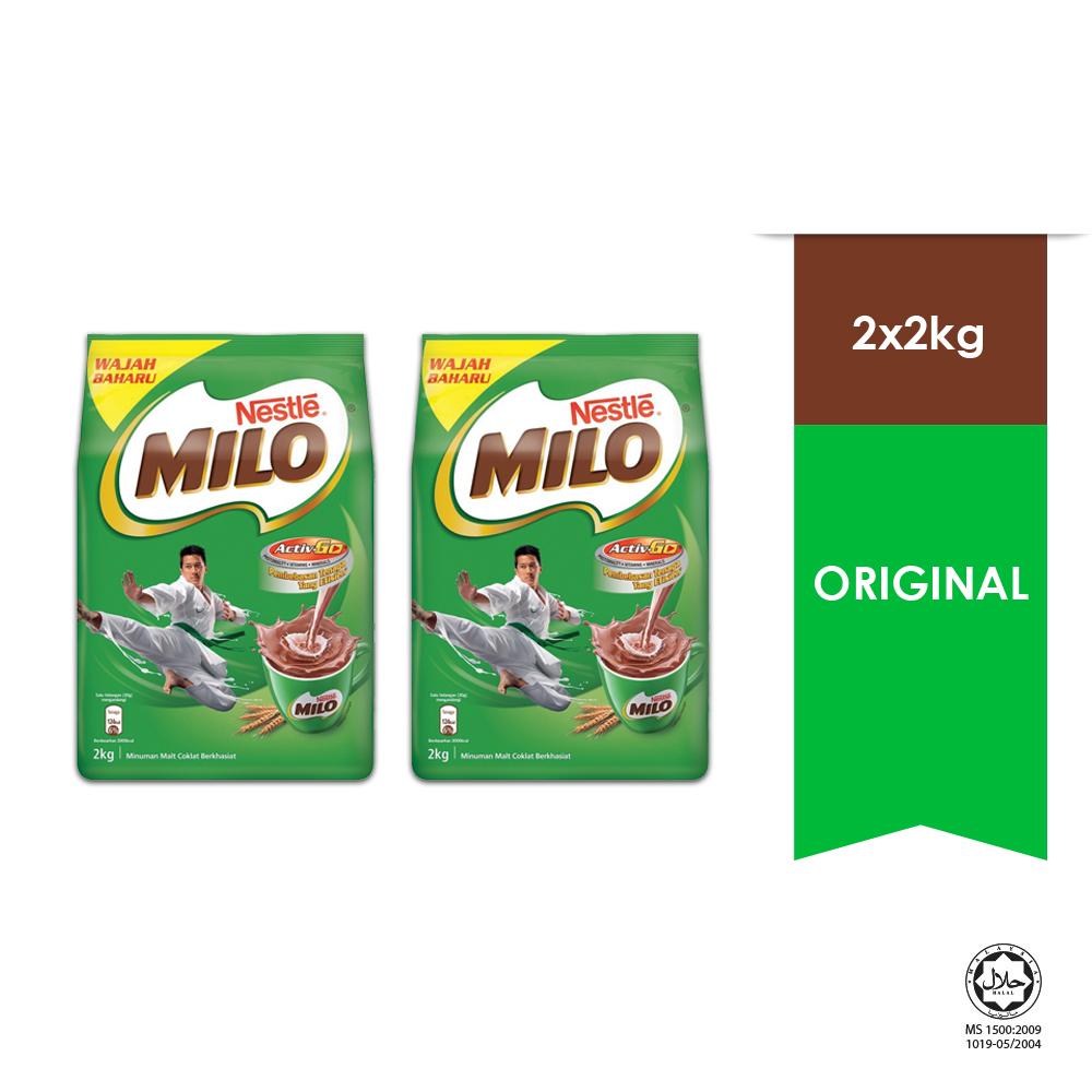 NESTLÉ MILO ACTIV-GO CHOCOLATE MALT POWDER Soft Pack 2kg x2 packs