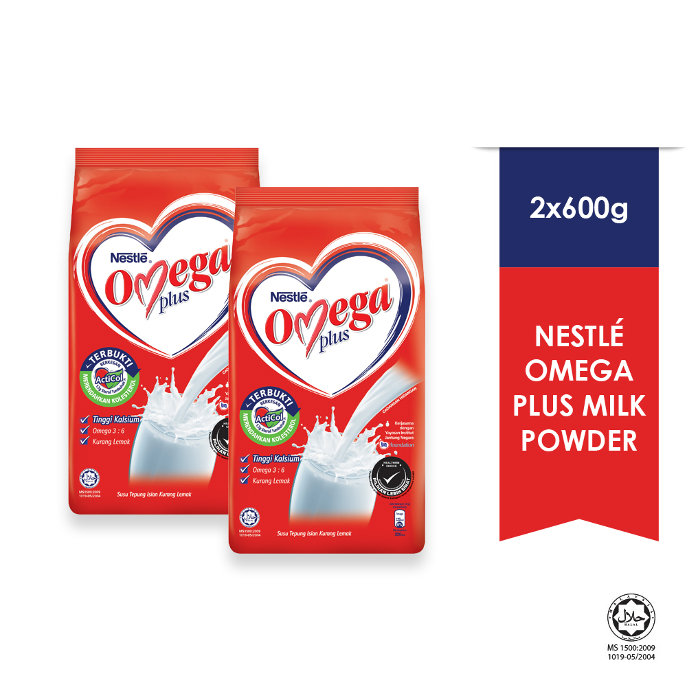 NESTLE OMEGA PLUS Milk Powder Soft Pack 600g x2 packs
