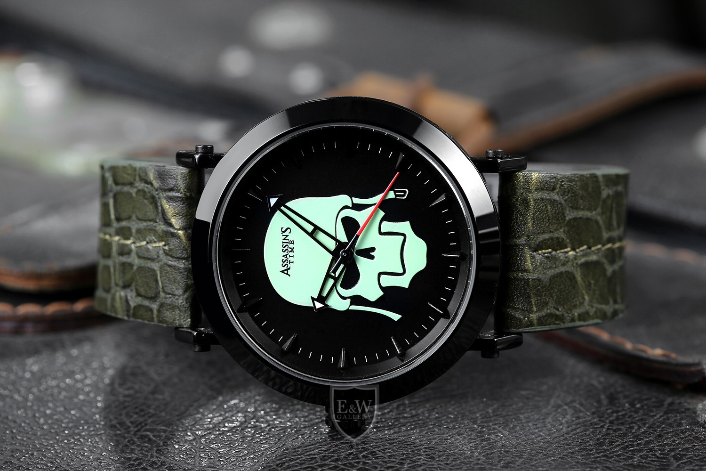 ★Assassins Time SKULL FIGHTER Men Fashion Design Luminous Green Watch Jam Tangan Lelaki Kulit Bercahaya Pejuang Tengkorak AT-S0013J