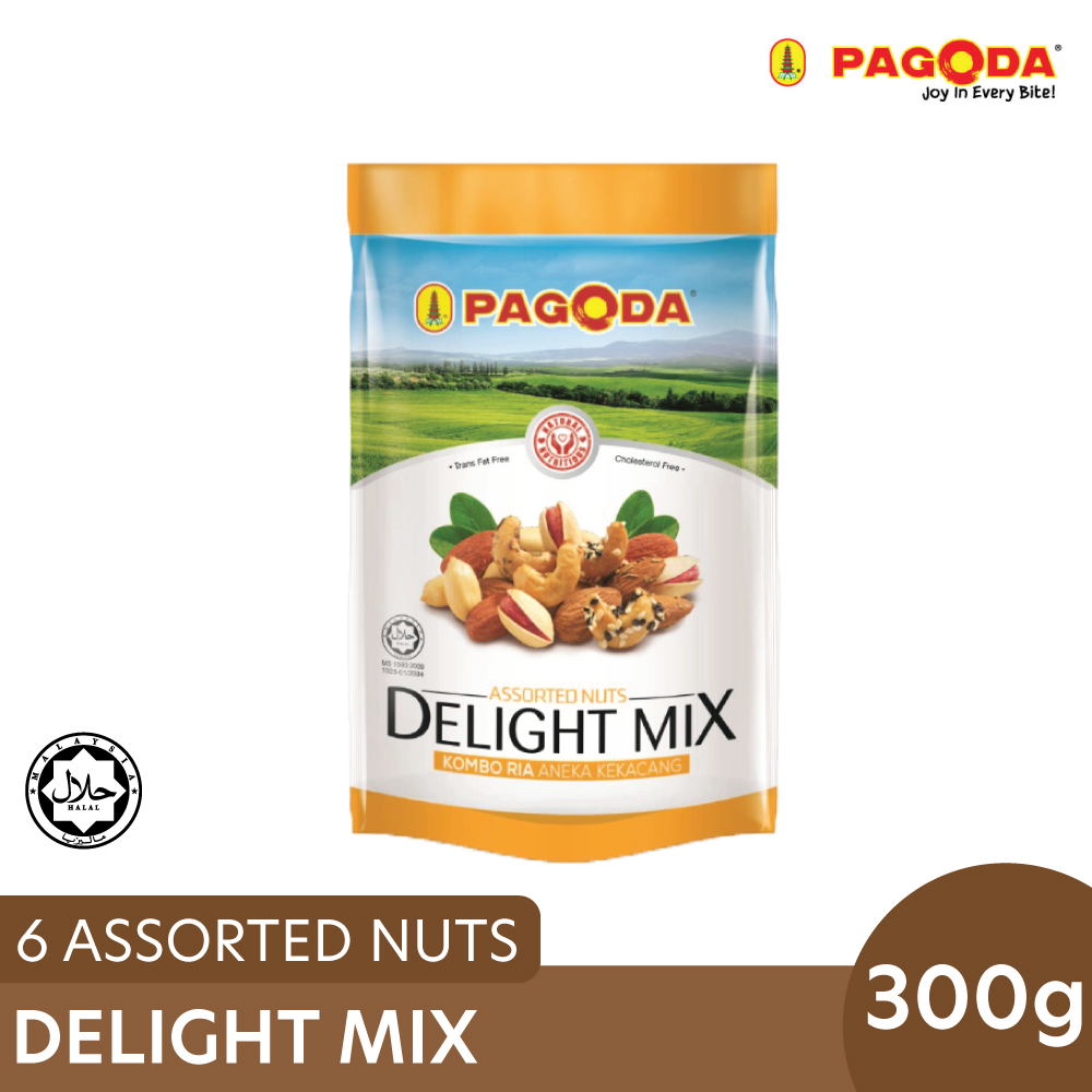 Pagoda Delight Mix 6 Assorted Nuts 300g (10g x 30 pkts) Delight Mix 6 Assorted Nuts