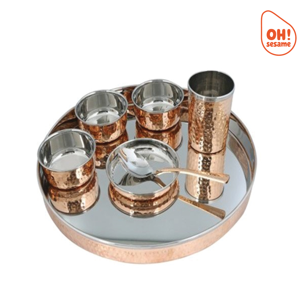 Copper Thali Set (7 Pcs)