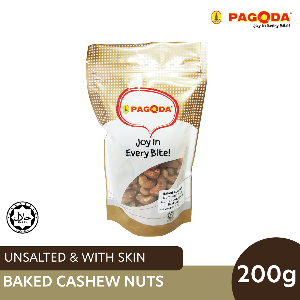 Pagoda Baked Cashew Nuts With Skin (Unsalted) 200g