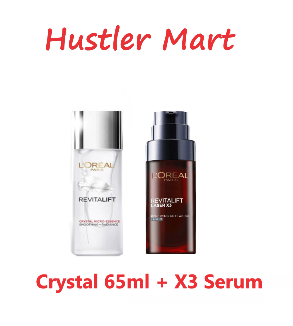 LOreal Paris Revitalift Crystal Micro Essence 65ml + Revitalift Laser X3 Serum