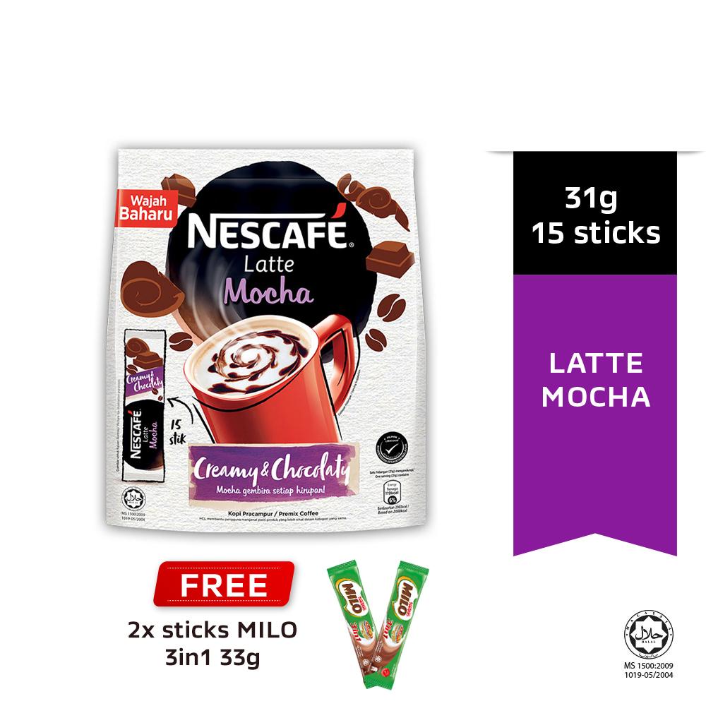 NESCAFE Latte Mocha 15 Sticks 31g Each Free 2 Milo 33g