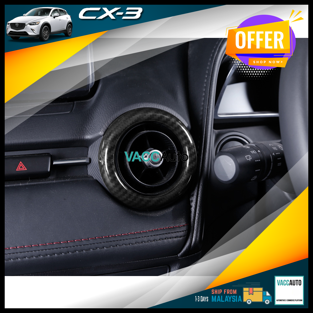 Mazda CX3 CX-3 DK Aircond Air-Cond Lining Carbon Fiber Design Car Accessories Vacc Auto