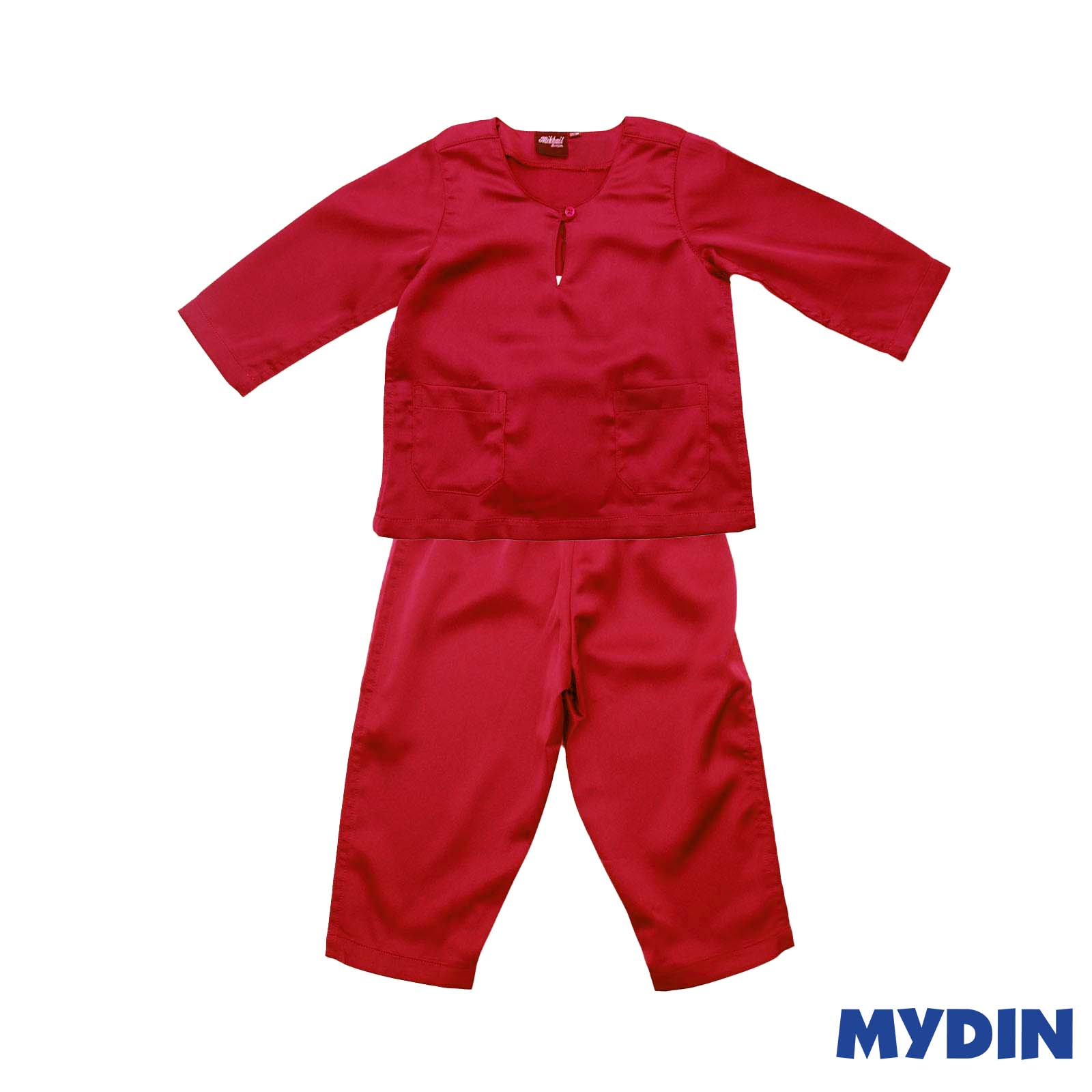 Mikhail Junior Baju Melayu Metalic Sateen Teluk Belanga (Size 6-12) 0819BCW Red