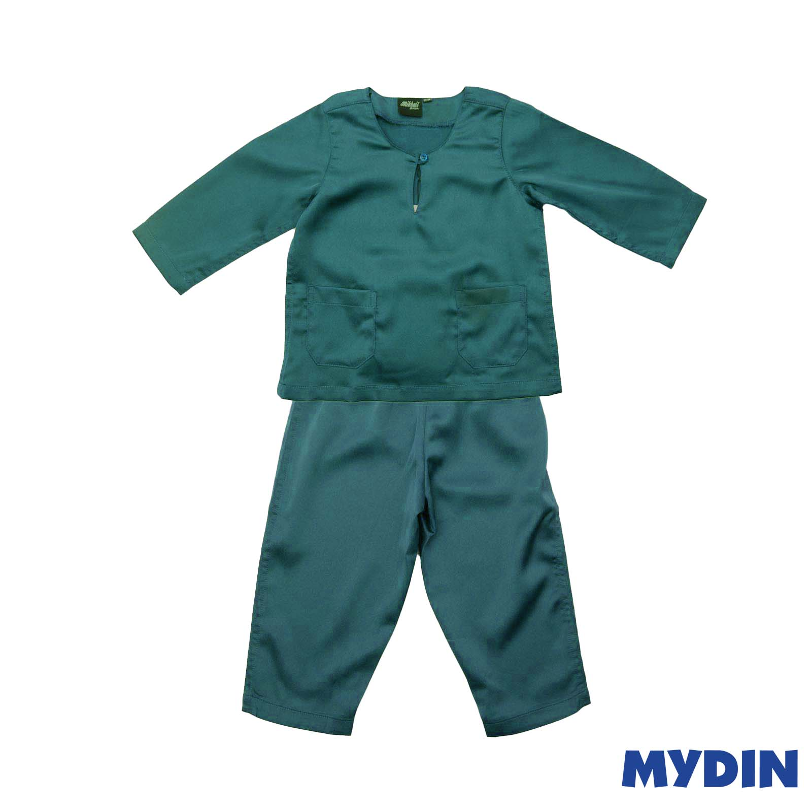 Mikhail Junior Baju Melayu Metalic Sateen Teluk Belanga (Size 6-12) 0819BCW Turquoise