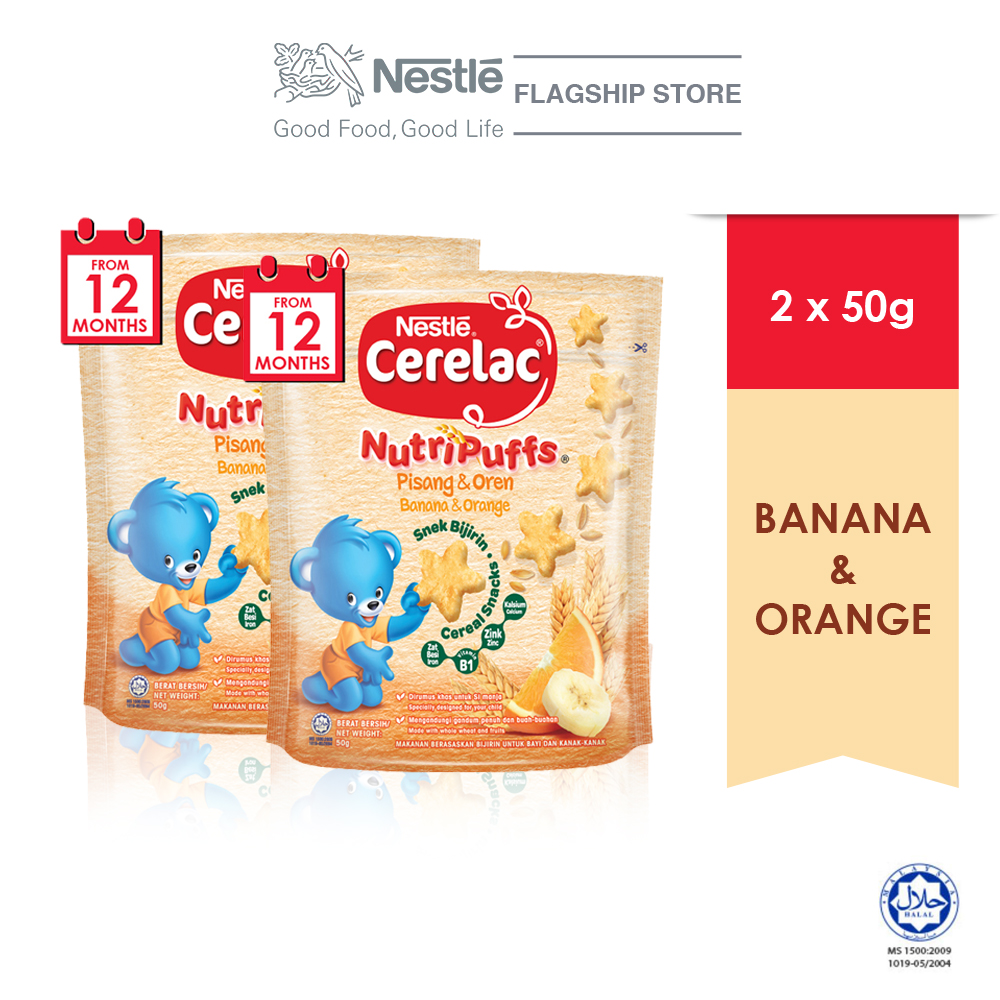 NESTLE CERELAC NUTRIPUFF Banana & Orange Cereal Snack Pouch 50g x2