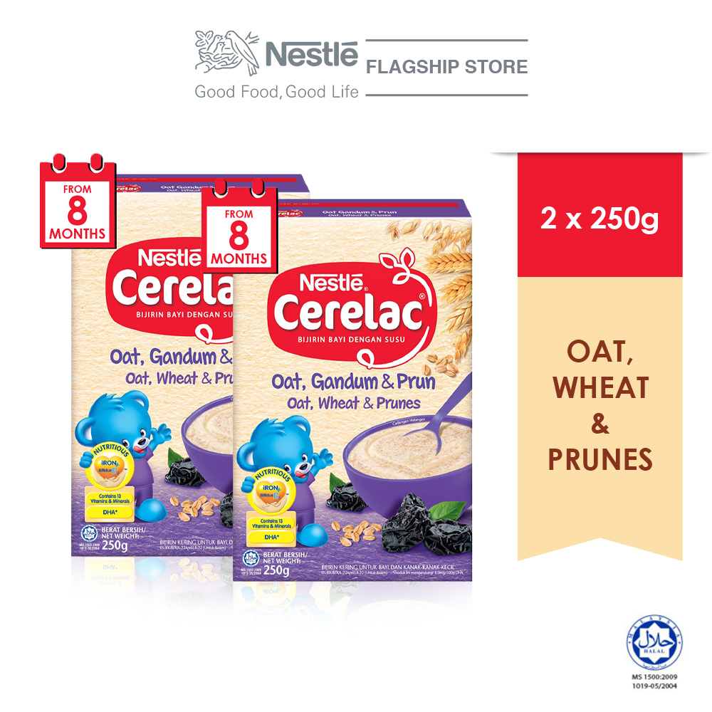 NESTLE CERELAC Oats, Wheat & PrunesInfant Cereal Box Pack 250g x2