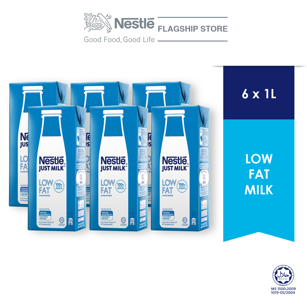 NESTLE JUST MILK Low Fat Milk 1L (Bundle of 6)