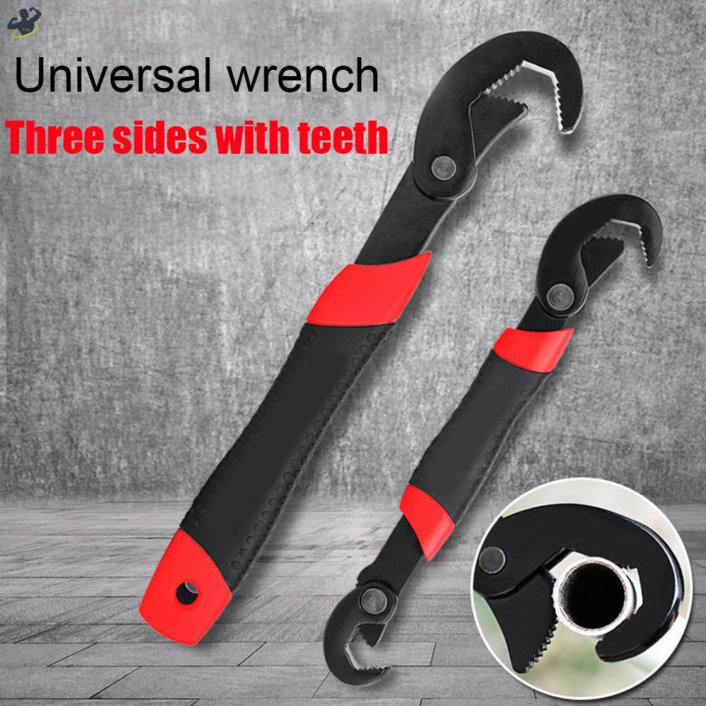 2pcs Toothed Universal Wrench Multifunction Fast Opening Pipe Wrench Repair Tool Set