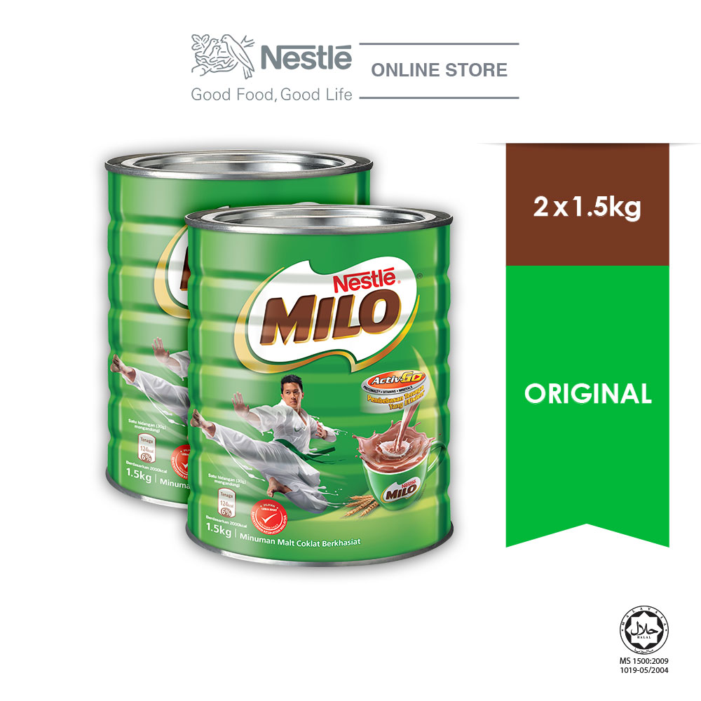 NESTLÉ MILO ACTIV-GO CHOCOLATE MALT POWDER Tin 1.5kg, Bundle of 2