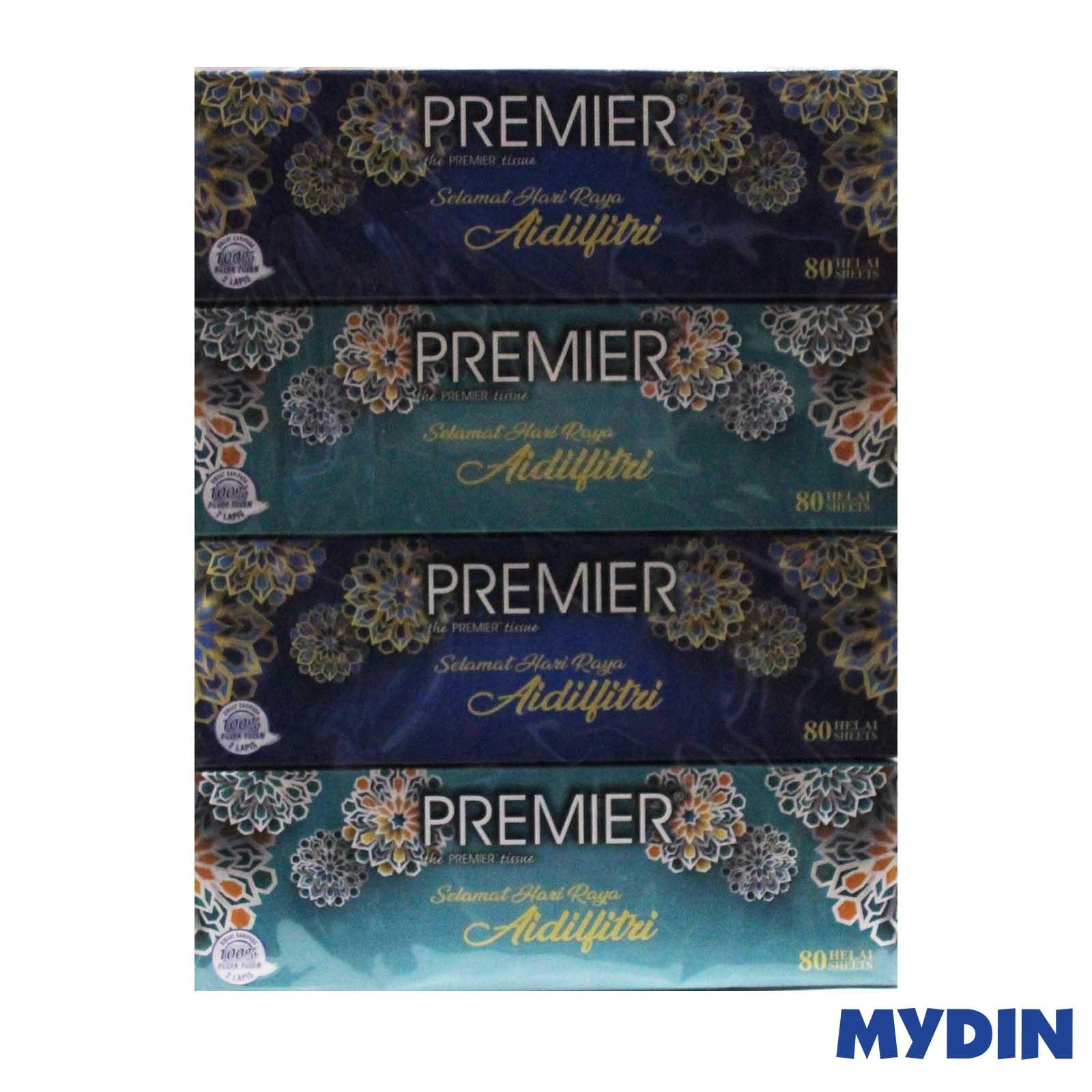 Premier 2 Ply Facial Tissue Raya (80 sheet x 4 Box) #Raya