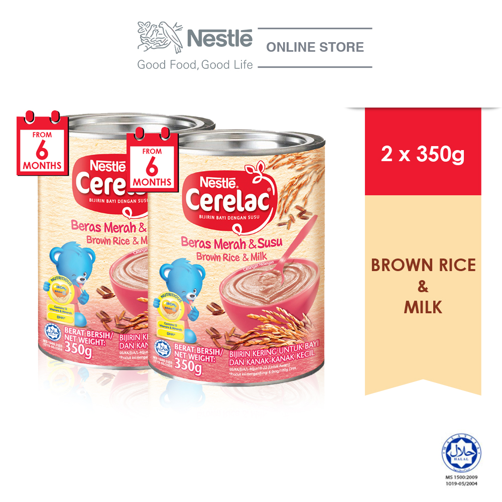 NESTLE CERELAC Brown Rice & Milk Infant Cereal Tin 350g x2 tins