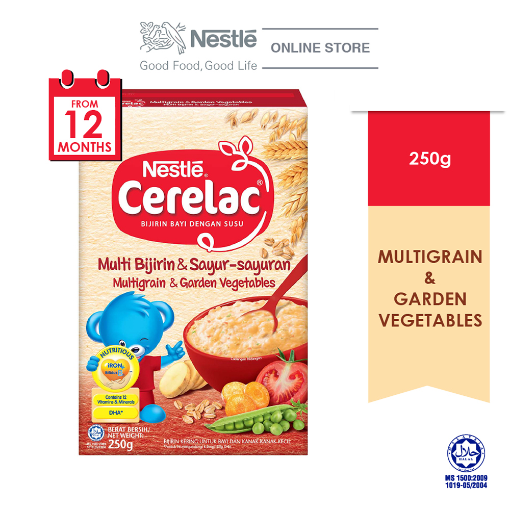 NESTLE CERELAC Multi Grain & Garden Vege Infant Cereal Box Pack 250g