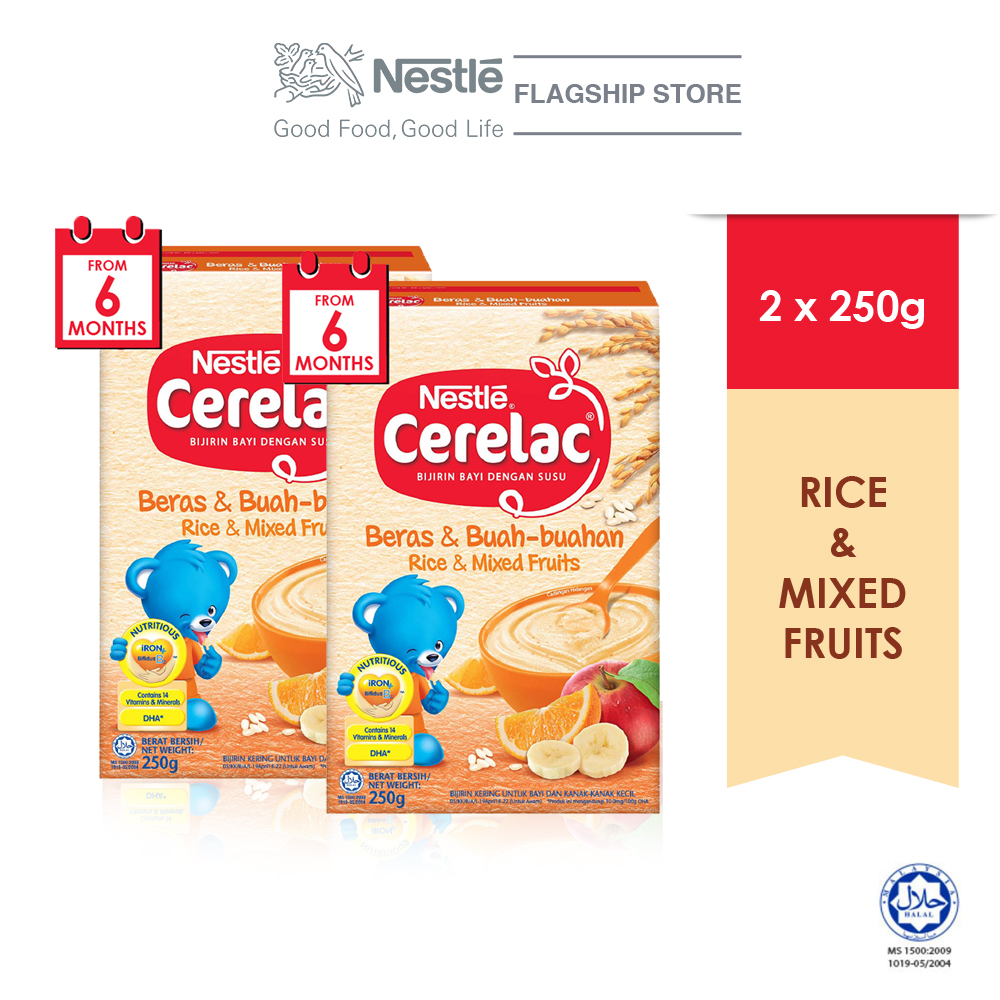 NESTLE CERELAC Rice & Mixed Fruits Infant Cereal Box Pack 250g x2
