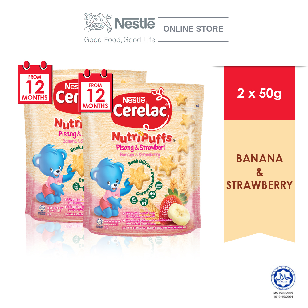 NESTLE CERELAC NUTRIPUFF Banana & Strawberry Cereal Snack Pouch 50g x2 pouches