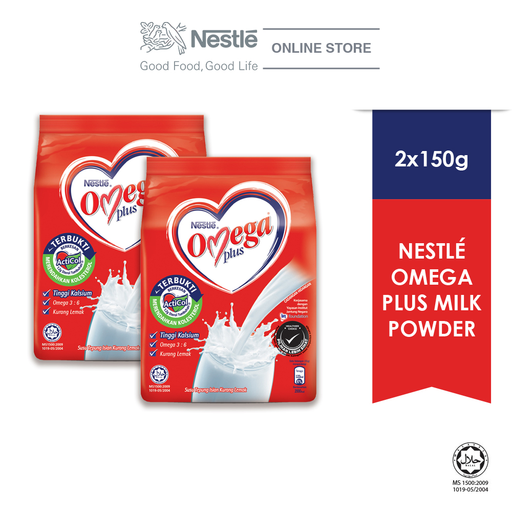 NESTLE OMEGA PLUS Milk Powder Softpack 150g bundle of 2