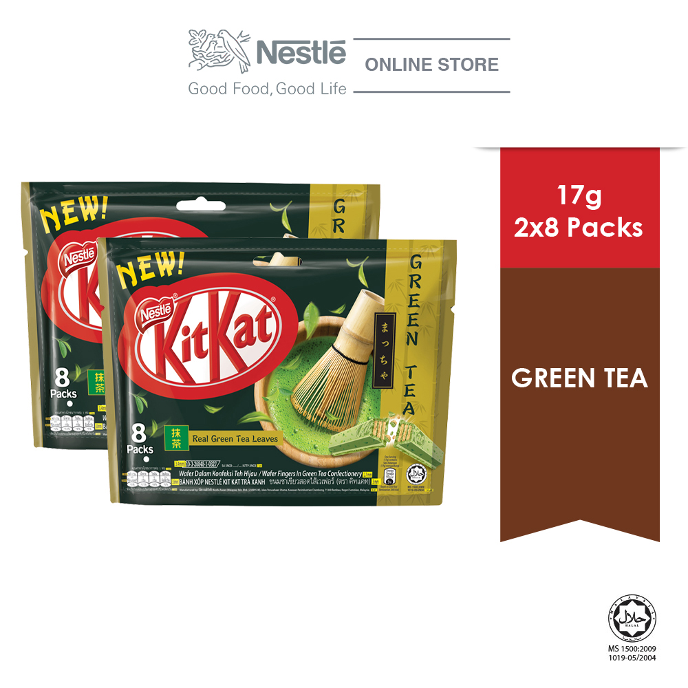 Nestle KITKAT 2-Finger Green Tea Pack, 8's , Buy 2 Free 1 Kitkat Jar