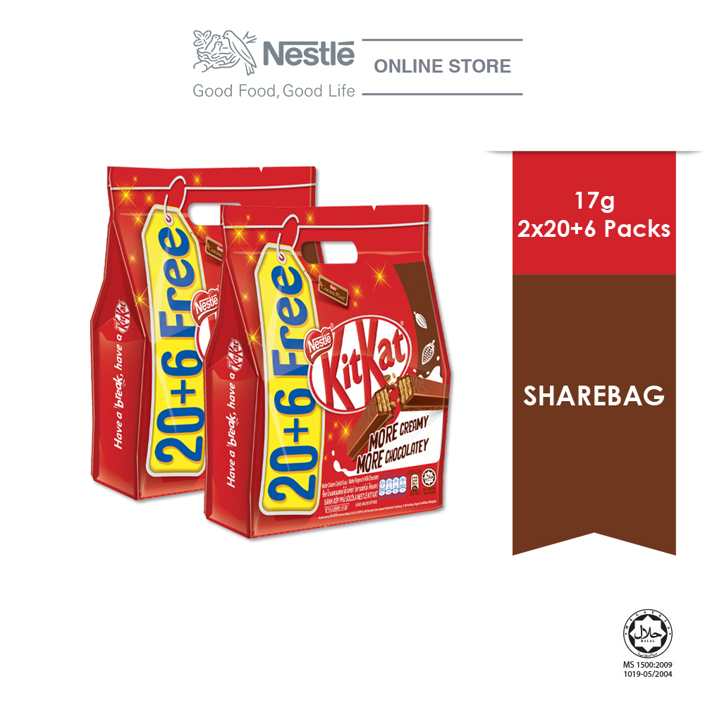 Nestle KitKat Sharebag 20+6, Bundle of 2