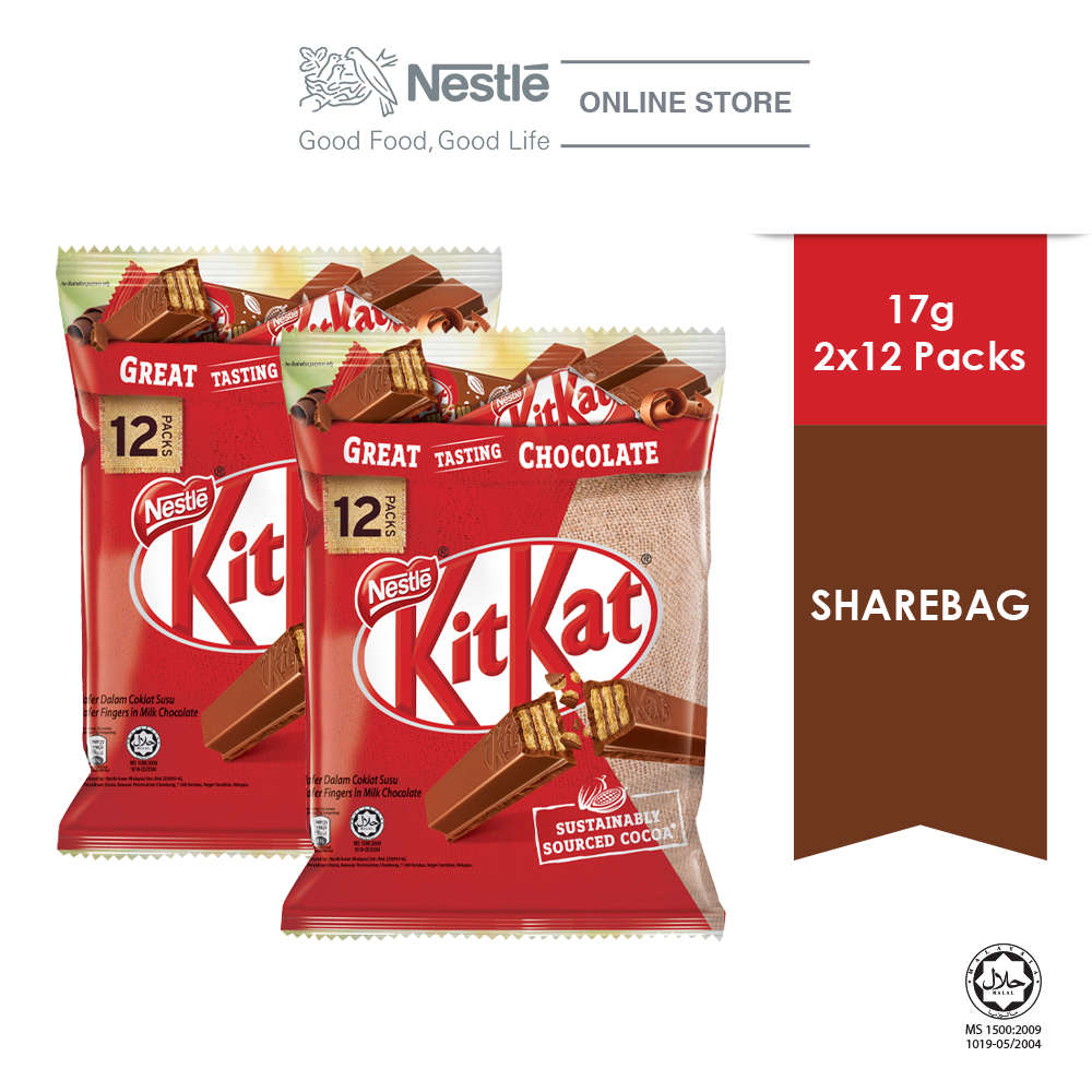 Nestle KITKAT 2F Chocolate Share Bag 12s, Bundle of 2