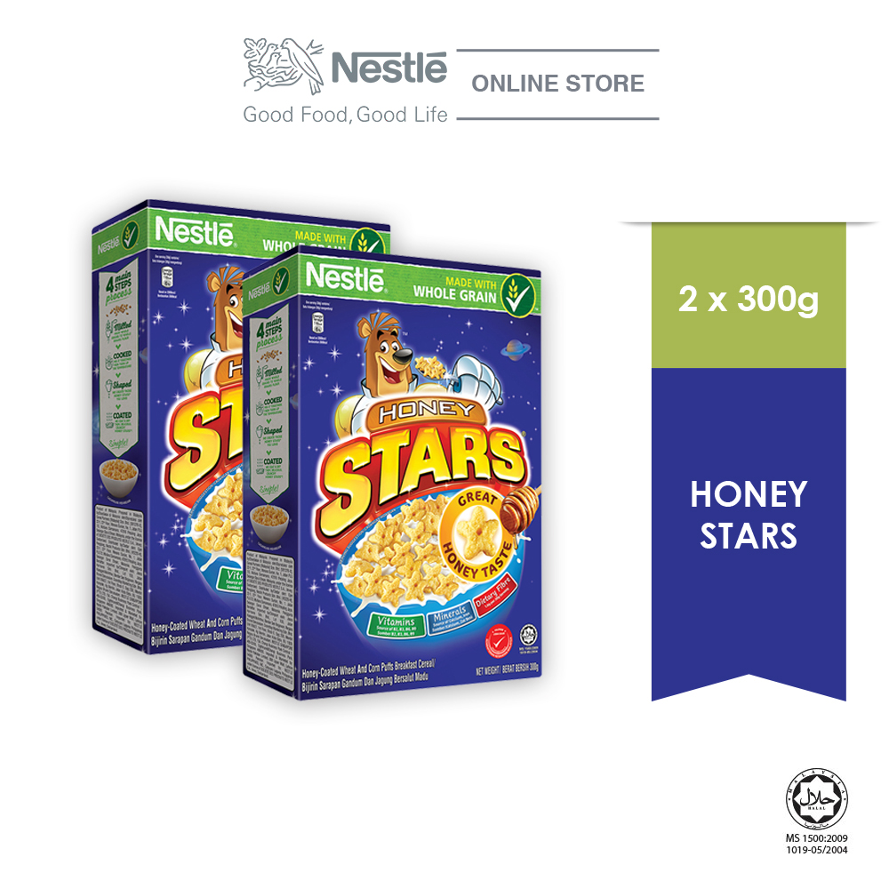NESTLE  HONEY STARS Cereal Large Box 300g x2 boxes