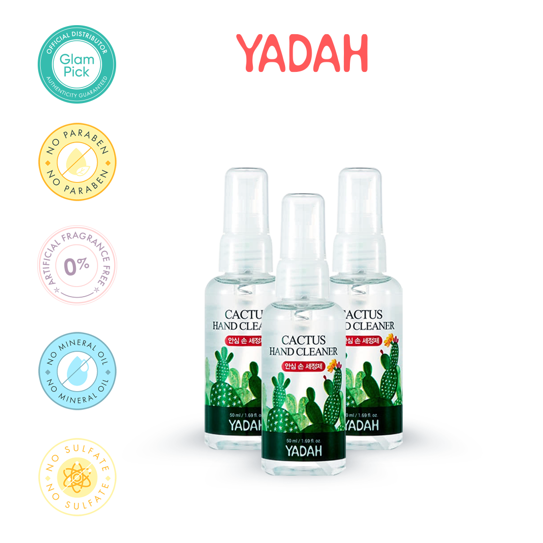 YADAH Cactus Hand Cleaner 67.5% Alcohol Sanitizer 50ml (spray type) x 3