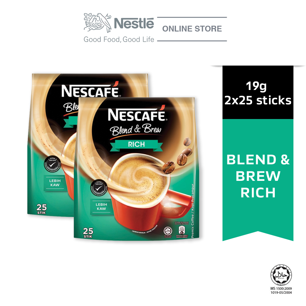 NESCAFE Blend and Brew Rich 25 Sticks 19g x2 packs