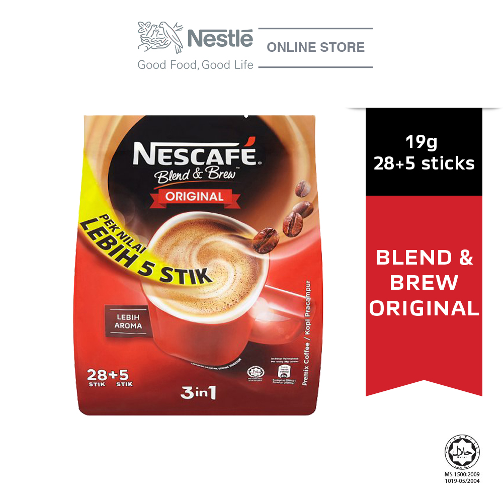 NESCAFE Blend and Brew Original 28+5 Sticks, 19g Each