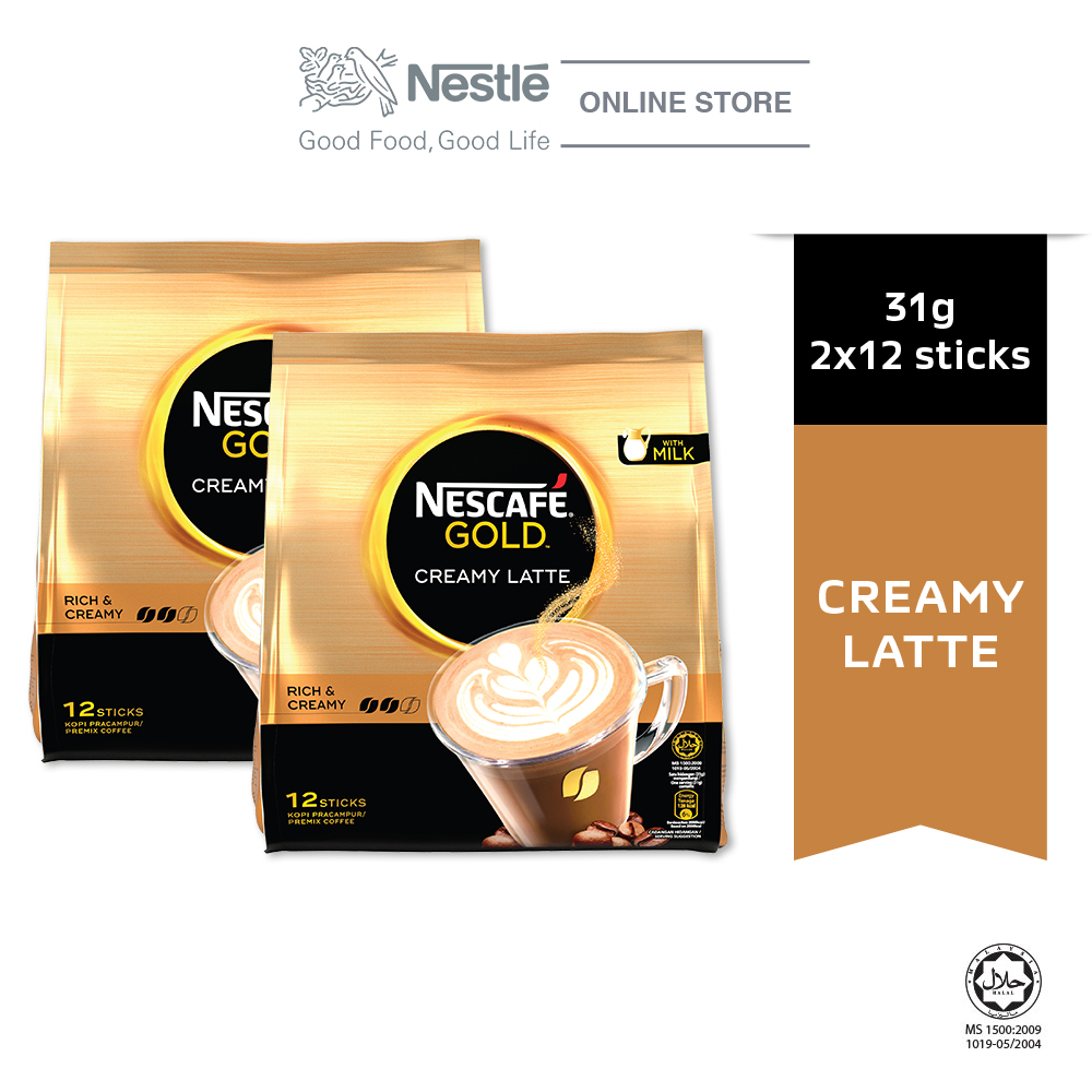 Nescafe Gold Creamy Latte 12 Sticks, 31g Bundle of 2