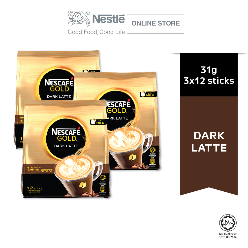 NESCAFE GOLD Dark Latte 12sticks, 31g Bundle of 3