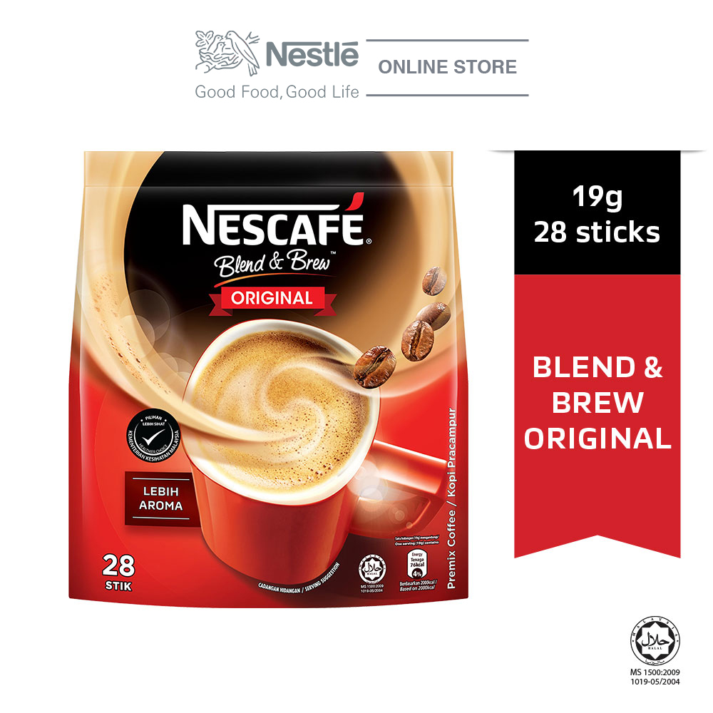 NESCAFE Blend and Brew Original 28 Sticks, 19g Each