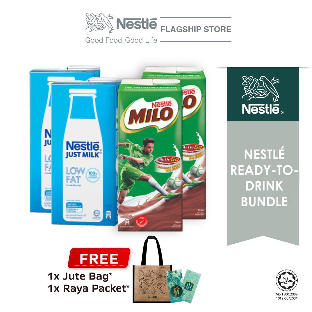 Nestle MILO UHT 1L and Just Milk Low Fat Buy 2 Free Jute Bag