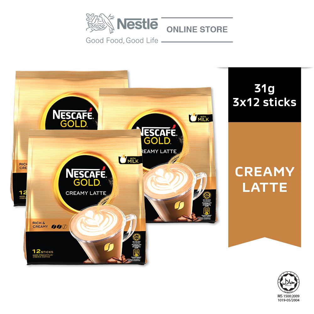 NESCAFE GOLD Creamy Latte 12 sticks, 31g Bundle of 3