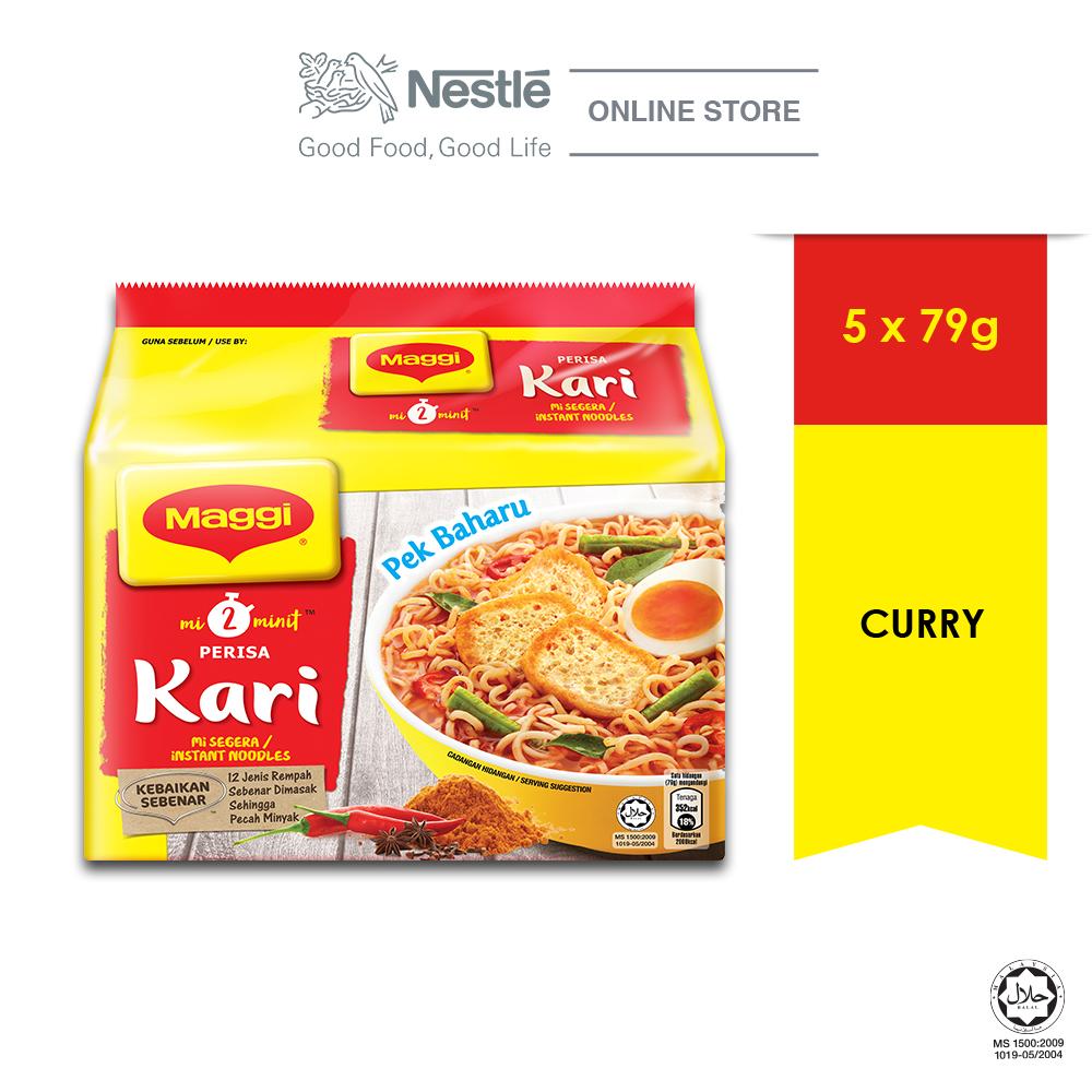 Nestle Maggi Bundle (Maggi 2-Minn Curry 5 Packs 79g x 1 Unit + MAGGI Hot Cup Curry 6x59g x 1Unit)