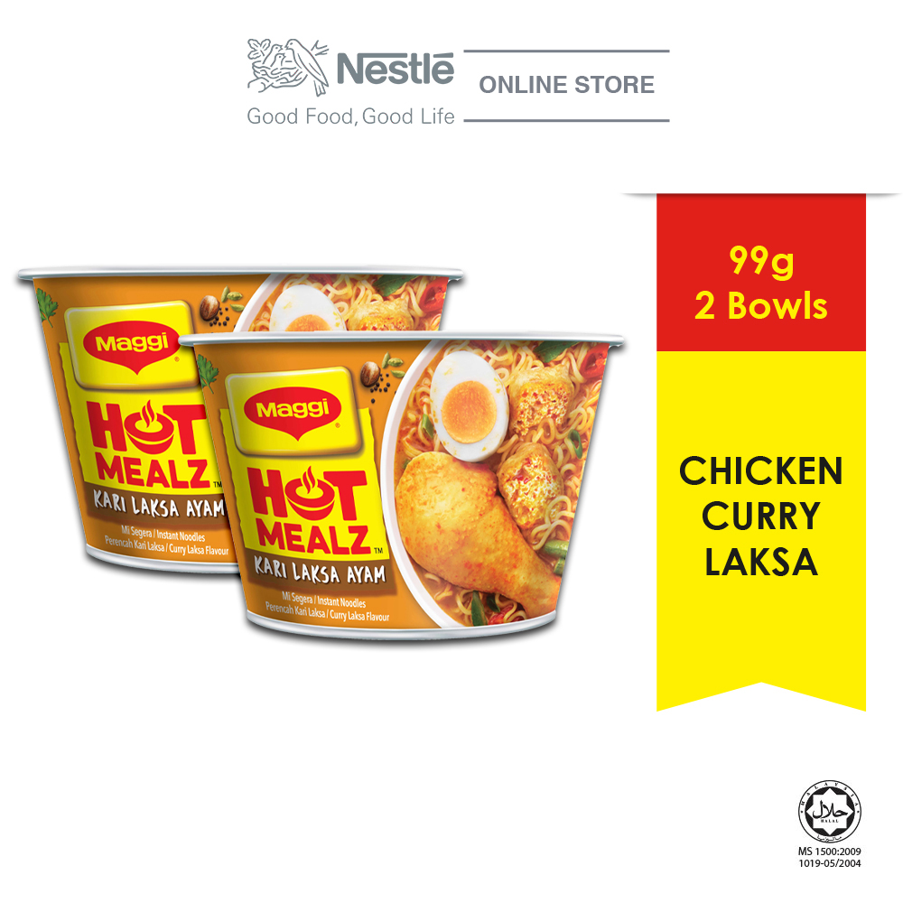 MAGGI Hot Mealz Kari Laksa Ayam Bowl (97g x 2 bowls) ExpDate:DEC20