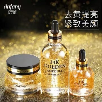 24K Golden Essence Eye Serum Face Cream Ampule Set