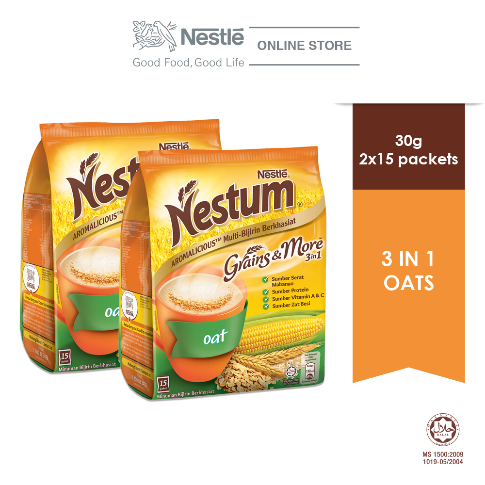 NESTLE NESTUM Grains & More 3in1 Oats 15 Packets 30g x2 packs