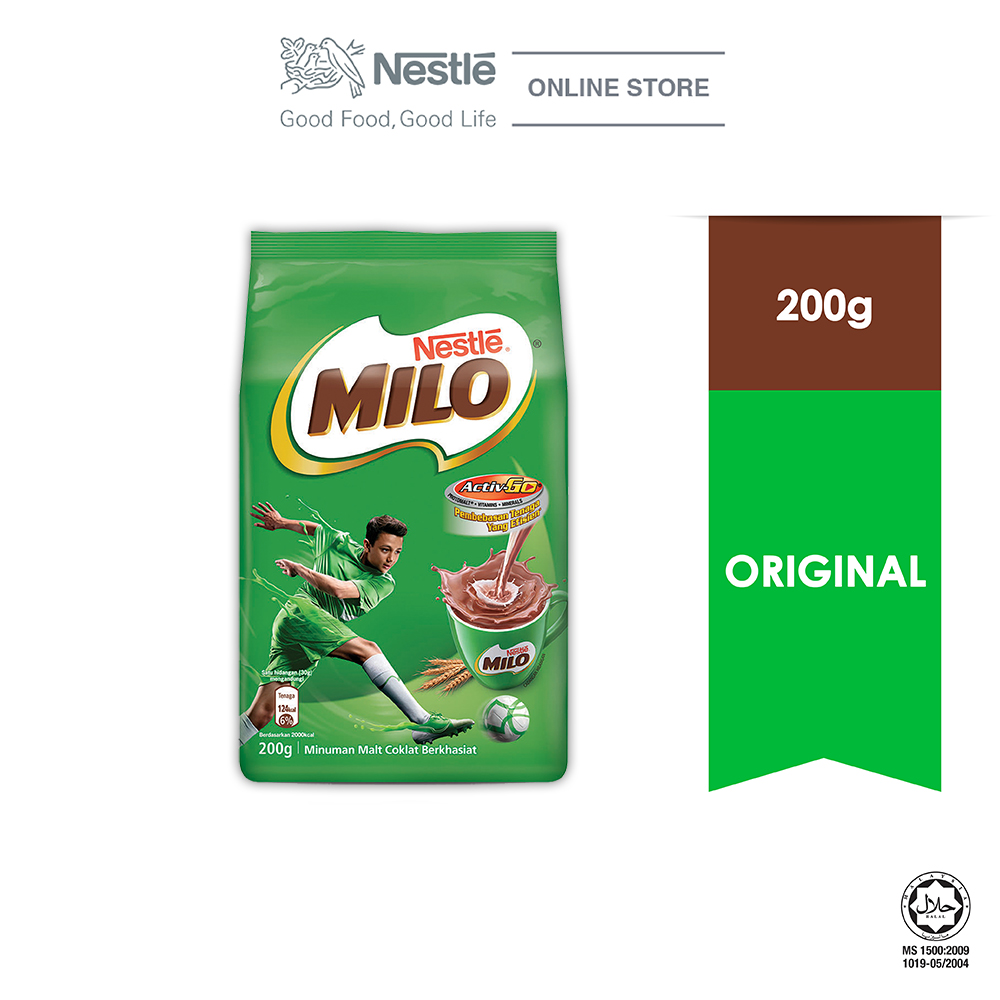 NESTLÉ MILO ACTIV-GO CHOCOLATE MALT POWDER Soft Pack 200g