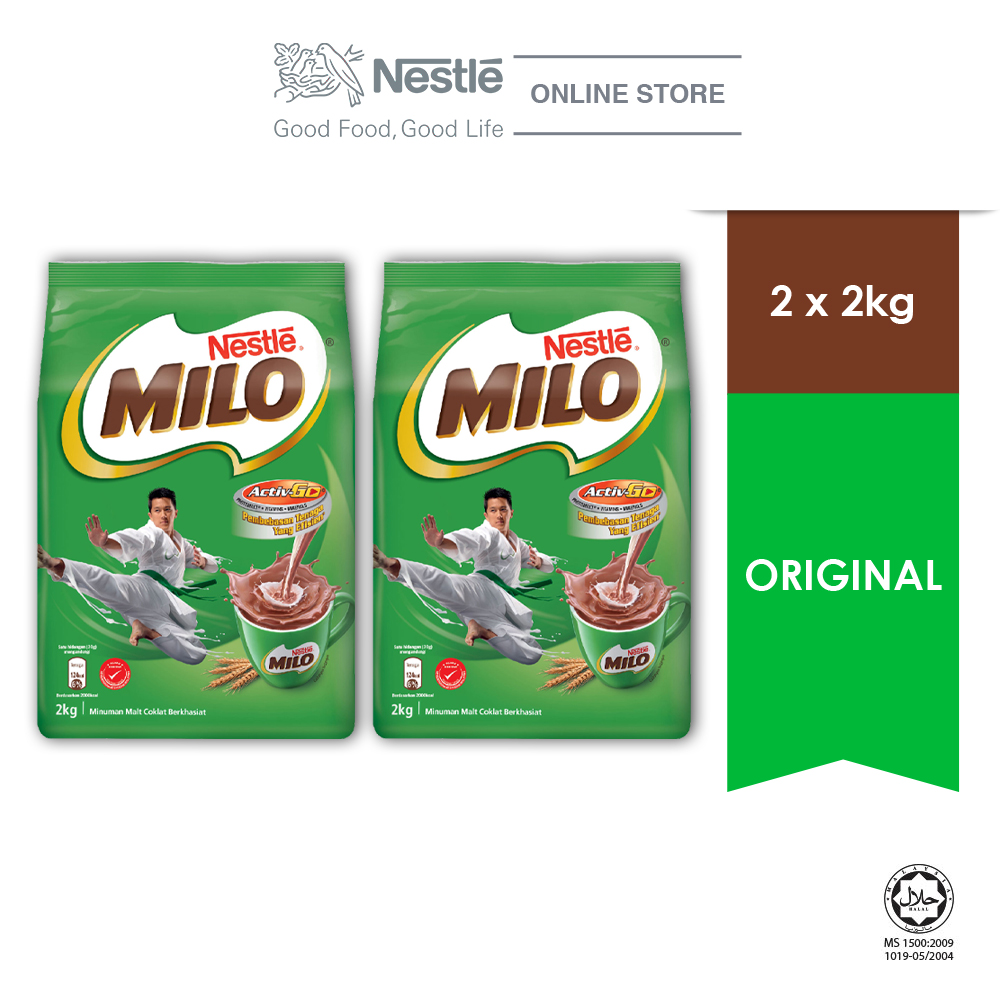 NESTLÉ MILO ACTIV-GO CHOCOLATE MALT POWDER Soft Pack 2kg x 2 packs