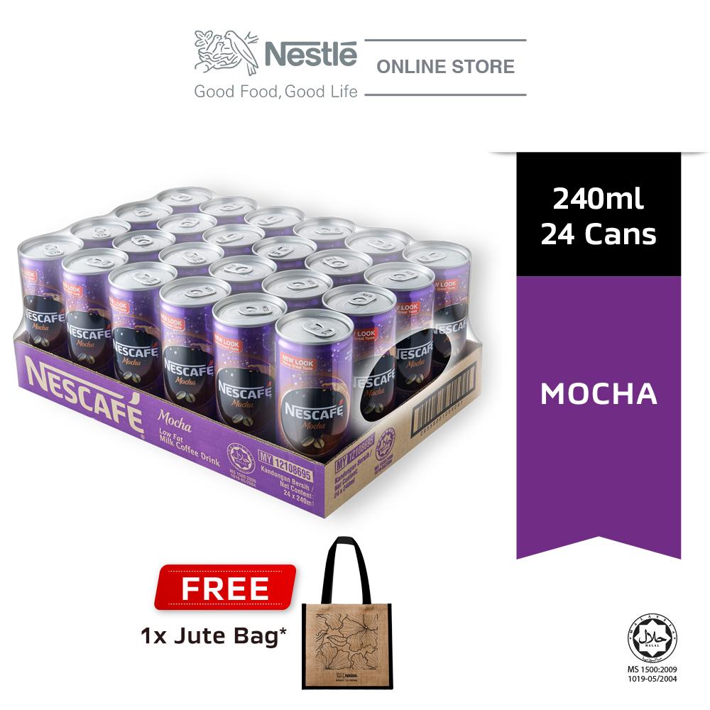 Nescafe Mocha Can 24 x 240ml Free Jute Bag