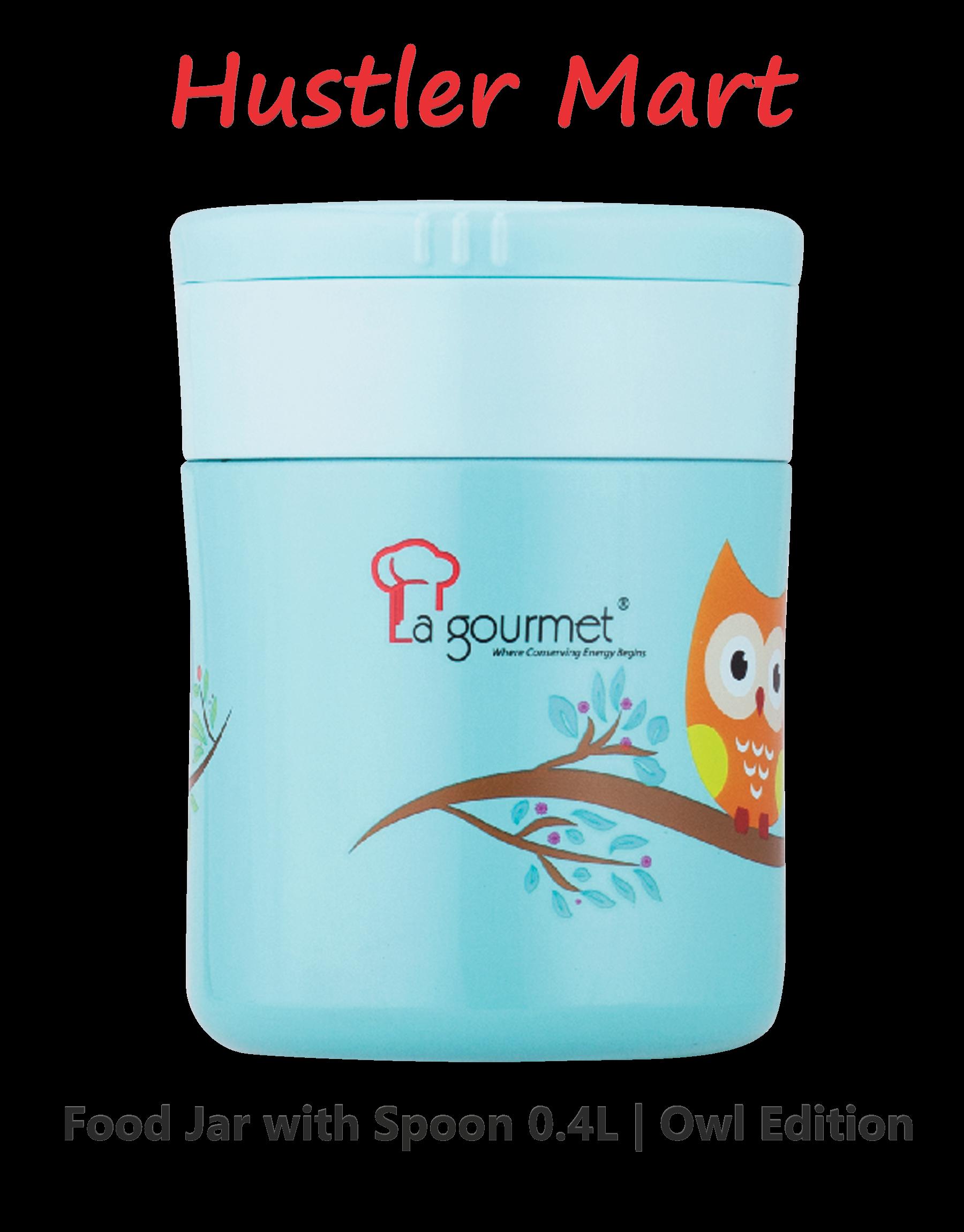 La gourmet Owl 0.4L Thermal Food Jar with Spoon