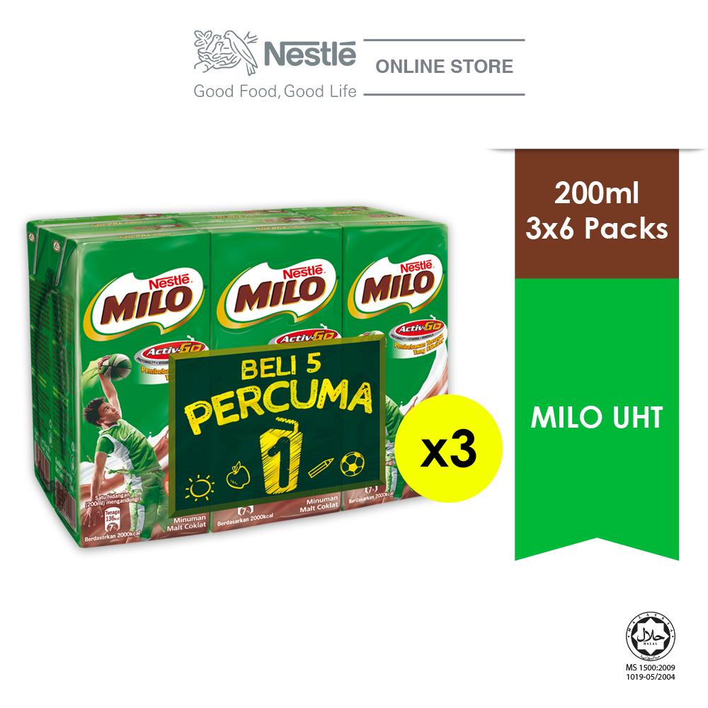 Nestle Milo UHT 200ml 5+1 Cluster, Bundle of 3