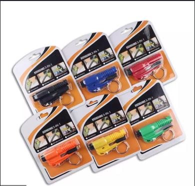 Seat Belt Cutter and Window Glass Switch 3 in 1 Fast Reliable Car Escape Keychain Tool Car Emergency Hammers