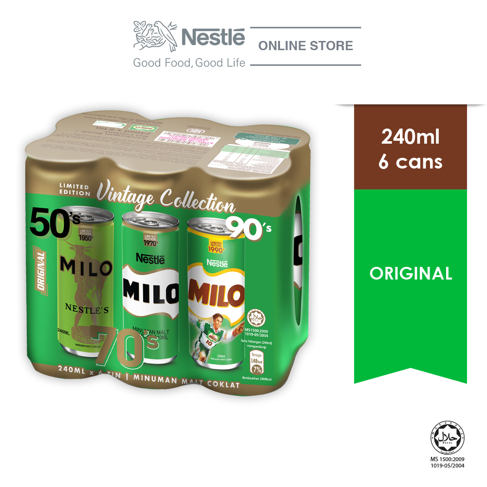 MILO Original Activ-Go Chocolate Malt 6 Cans 240ml
